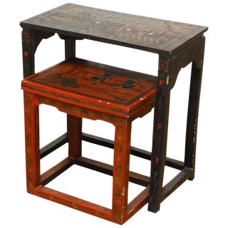 Chinese Coromandel Style Lacquered Nesting Tables - A Pair