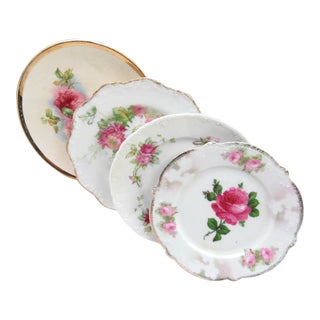 Vintage Hand Painted Bread Plates - Set of 4