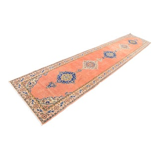 Antique Turkish Handmade Unique Orange Runner Rug -3′2″ × 16′5″