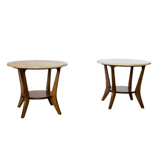 Italian Marble Side Tables - A Pair