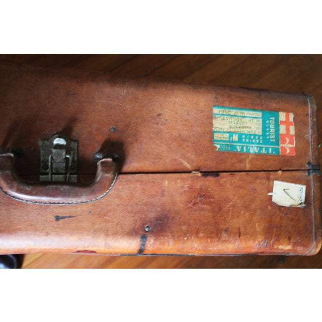 Vintage Worn Leather Suitcase - Image 7 of 8