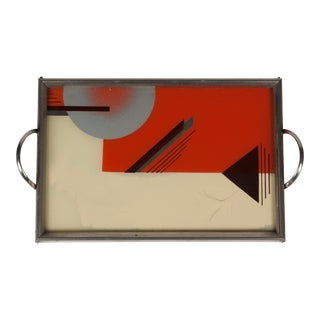 Art Deco Geometric Lacquered Serving Tray, German c. 1930