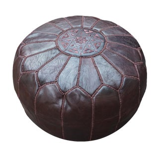 Chocolate Brown Moroccan Leather Pouf