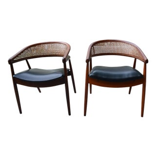 James Mont Style Bent Beech Armchairs - A Pair