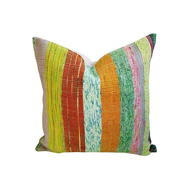 Custom Hand-Looped/Tufted Chindi Pillows - a Pair - Image 4 of 6