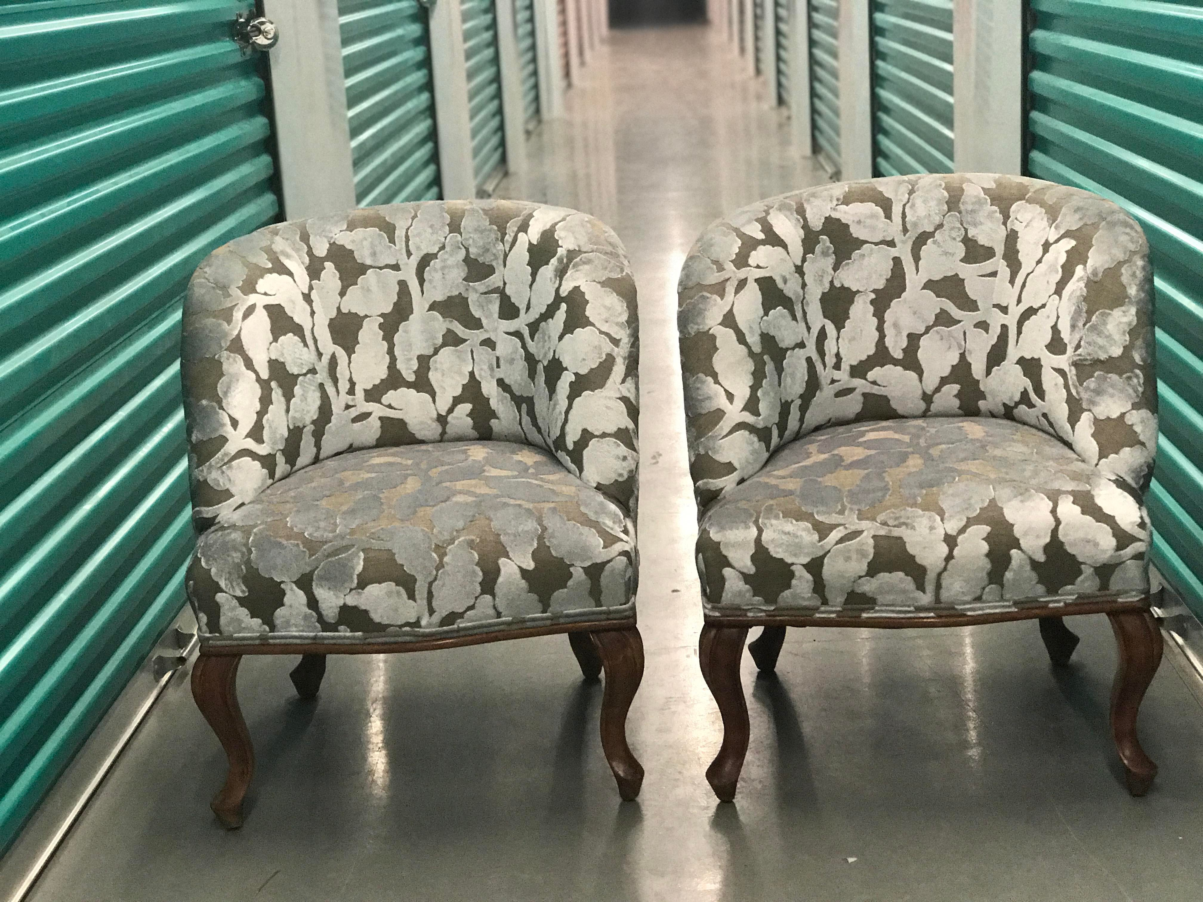 French Vintage Slipper Chairs   A Pair   Image 2 Of 9