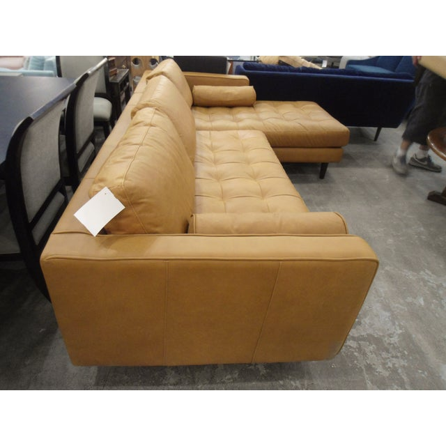 Tan Leather Sectional Sofa, Right Chaise, Tufted Seating - Image 3 of 8