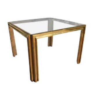 Jansen-Style Brass & Chrome Glass Side Table