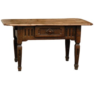 Italian Country Table with Single Drawer, Carved Apron, Tapered Legs, circa 1800