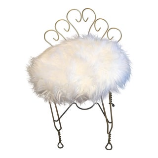 Vintage Faux Fur Brass Vanity Chair
