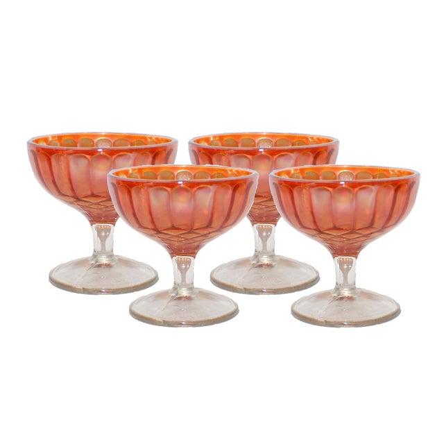 Image of Carnival Glass Sherbet Glasses - Set of 4
