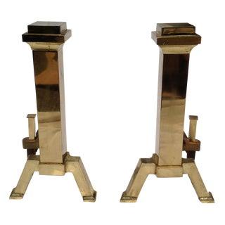 Mid-Century Brass Andirons - A Pair