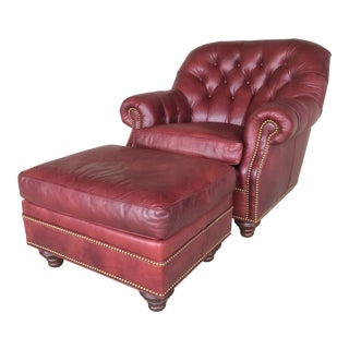 Hancock & Moore Ox Blood Leather Chair & Ottoman