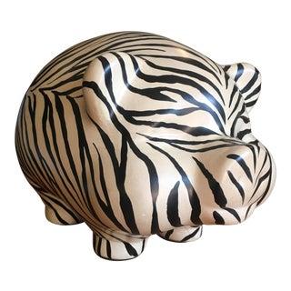 Vintage Zebra Stripped Ceramic Piggy Bank