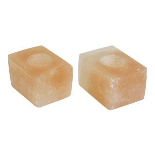 Pink Calcite Votive Candle Holders - A Pair