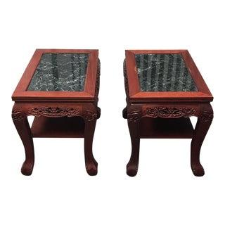 Vintage Chinese Rosewood & Jade Side Tables - A Pair