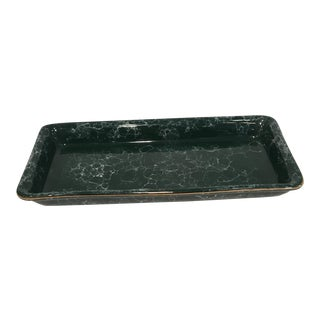 Green Tray With Gold Rim