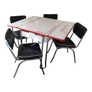 Vintage Chrome Enamel Table With or W/O Chair Set (Read Description for Explanation)
