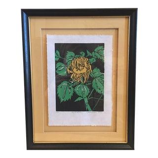 Sunflower Woodblock Print