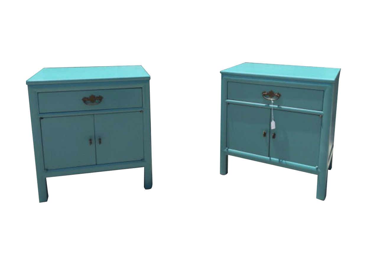 Mid Century Teal Nightstands A Pair