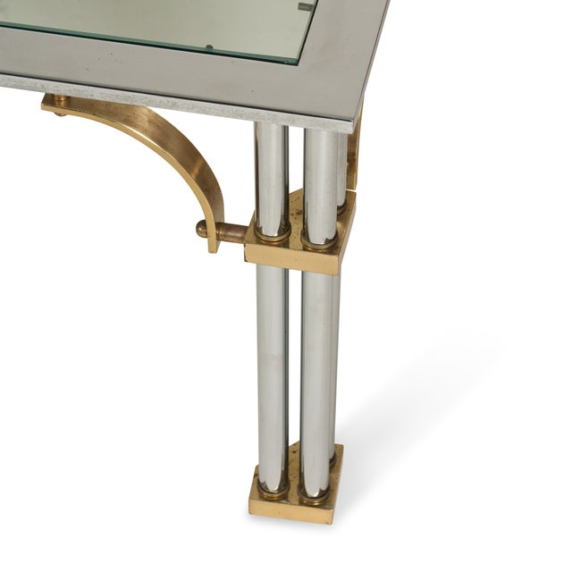 1980s Chrome and Brass Coffee Table - Image 6 of 7