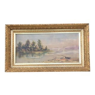 Antique Fine Art Oil Landscape Seascape Painting