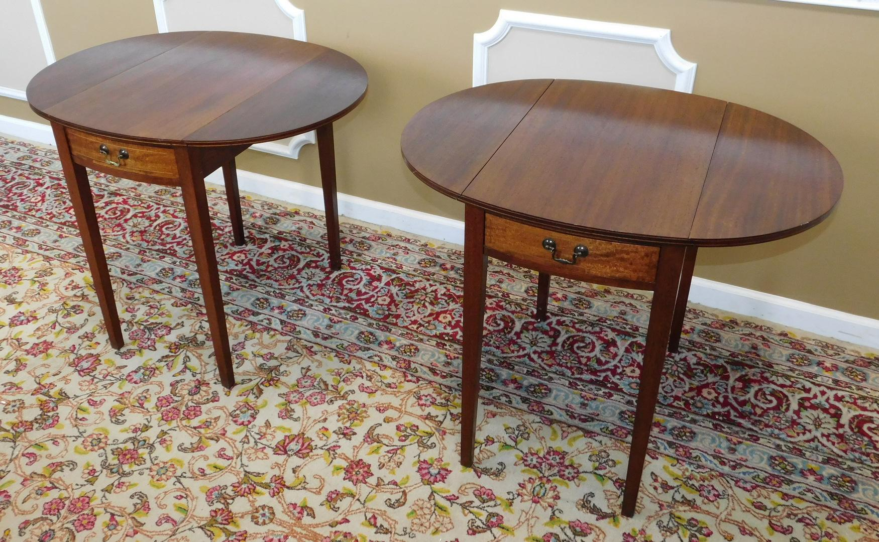 Vintage Federal Style Pembroke Drop Leaf End Tables   Pair   Image 7 Of 9
