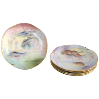 Antique French Limoges Hand-Painted 22-Karat Fish Plates - Set of 6