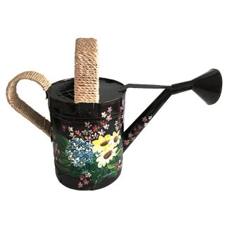 Hand-Painted Floral Watering Can