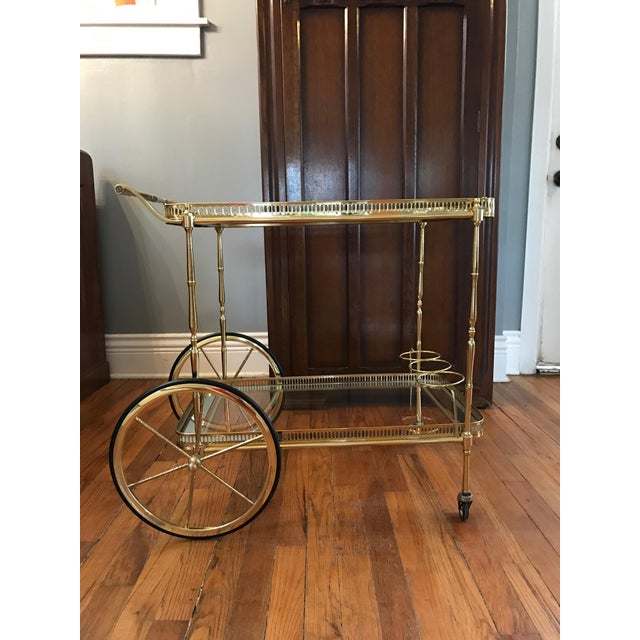 Vintage Brass & Glass Bar Cart - Image 4 of 8