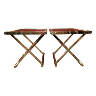 Brass & Smoked Glass Campaign End Tables - A Pair