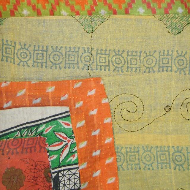 Image of Vintage Green & Orange Kantha Quilt