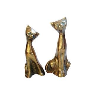 Mid-Century Brass Cats - Pair