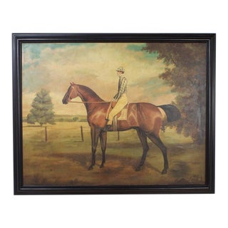 Large Horse and Jockey Oil on Canvas Painting
