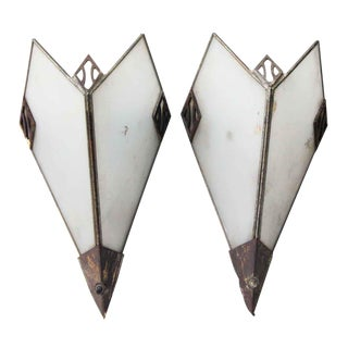Metal and Glass Deco Sconces - A Pair