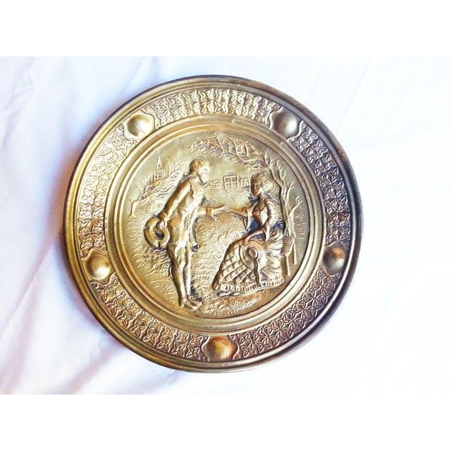 Vintage Decorative Brass Wall Plates - A Pair - Image 3 of 6