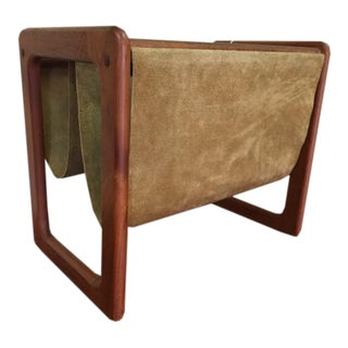 Danish Teak & Suede Magazine Rack