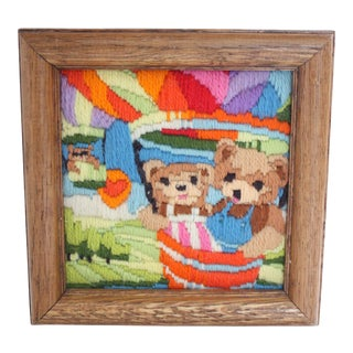 Bears in Balloons Needlepoint Art