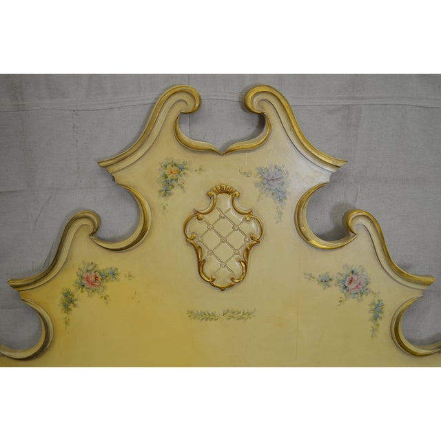 Vintage Rococo Louis XV Style Hand Painted Queen Poster Headboard - Image 6 of 10