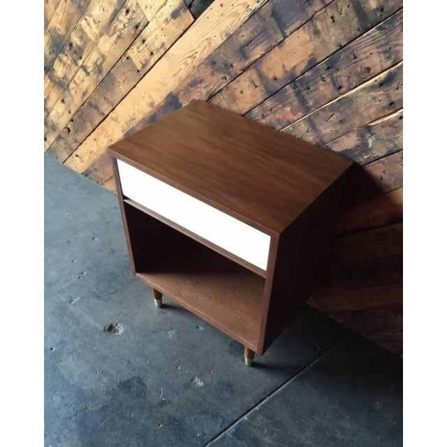 Mid-Century Walnut & White Lacquer Nightstand - Image 6 of 7