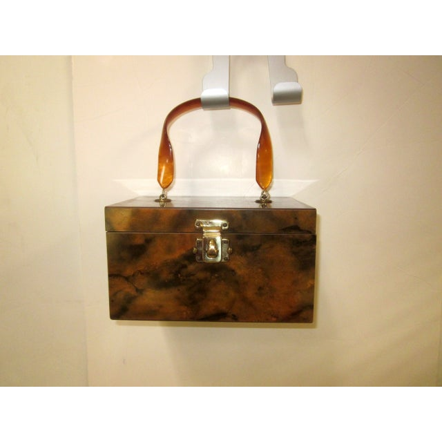 Image of Lucite Wood Box Purse With Mirror