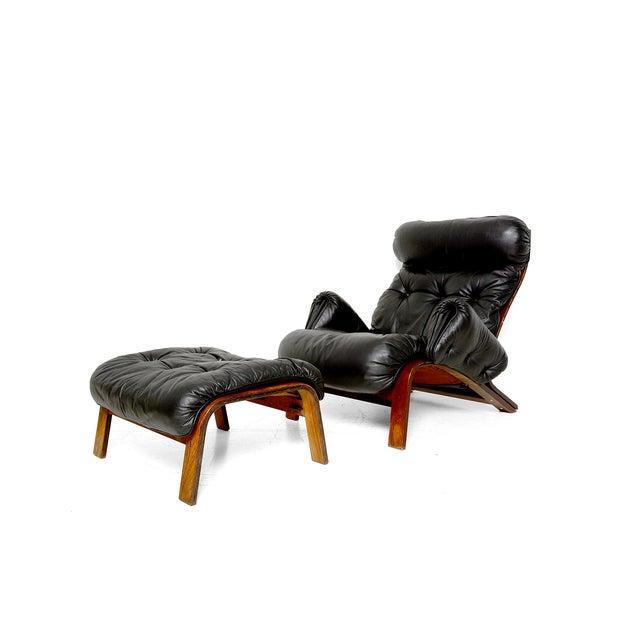 Vintage 1973 Scandinavian Rosewood Chair & Ottoman - Image 4 of 9