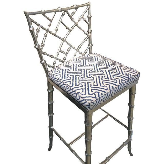 Phyllis Morris Silver Bamboo Barstools - Pair - Image 5 of 8