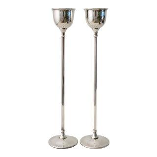 Birks Tall Slender Candleholders - a Pair