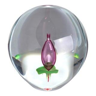 Beranek Floral Glass Paperweight