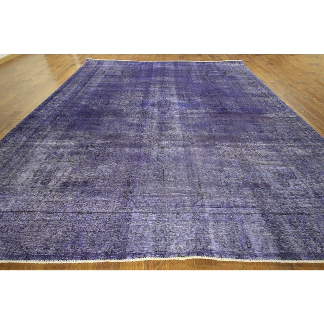 "Purple Overdyed Oriental Rug - 10' 1"" x 12' 1"" - Image 3 of 10"