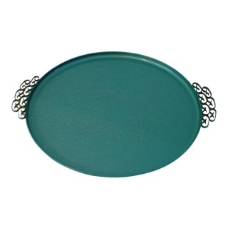 Vintage Caribbean Green Kyes Moire Tray