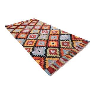 Vintage Turkish Tribal Oushak Handmade Flatwoven Kilim Rug - 4′11″ × 9′10″
