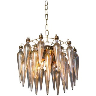 Murano Avventurina Blown Glass with Gold Flecks and Brass Cage Semi Flush Light