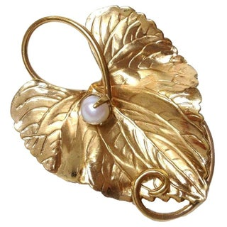 Gold-Filled Leaf w/ Pearl Brooch